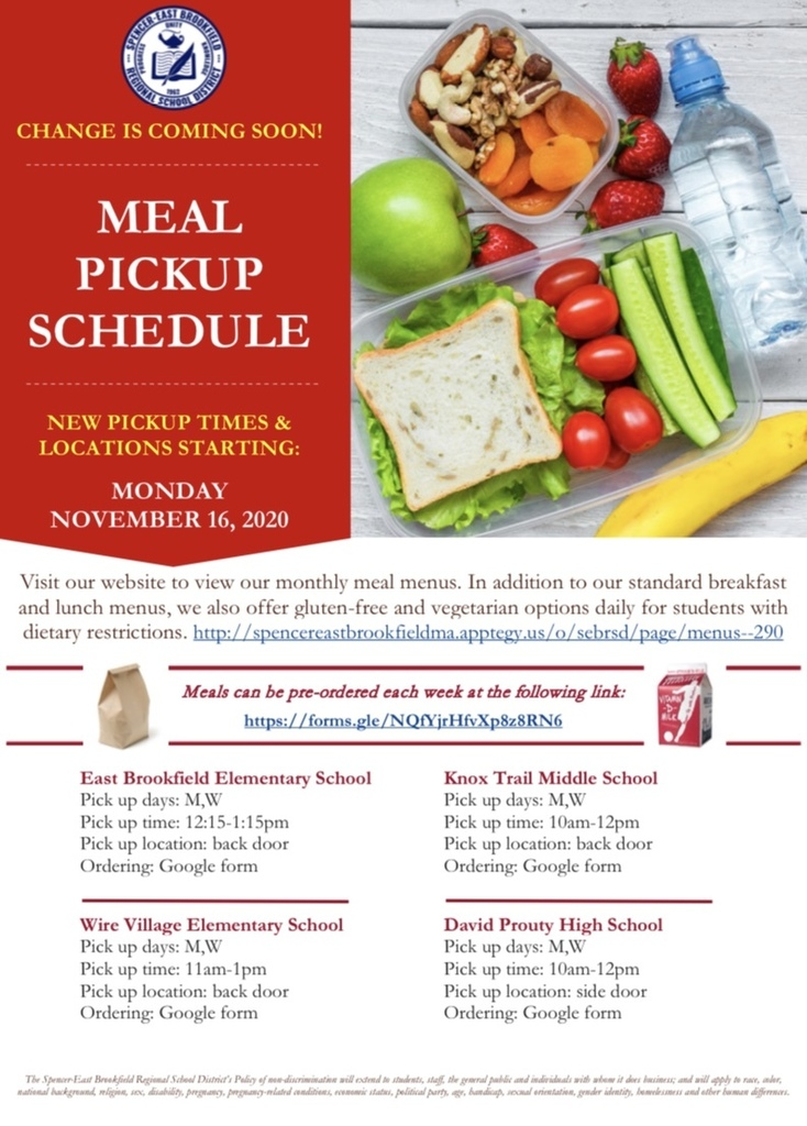 Food Services Meal Pickup Changes