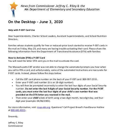DTA P-EBT card information flyer